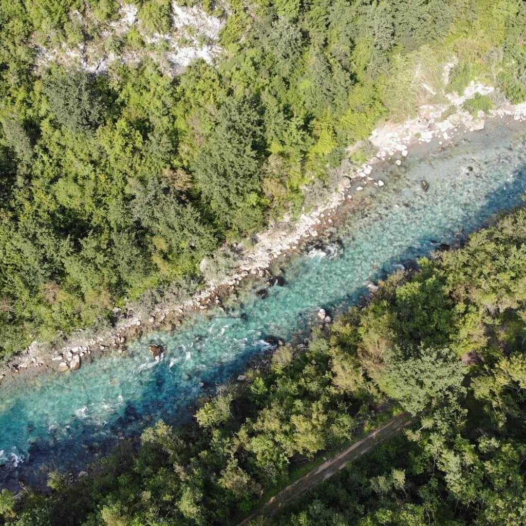 drone view tara river montenegro