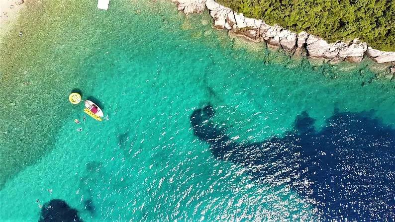 brsecine beach in dubrovnik croatia drone photo of the bay